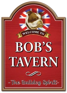 Picture of Personalised British Bulldog Pub Bar Sign with Shaped Top