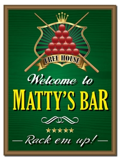 Picture of Personalised Pub Sign with Snooker Billiards Design