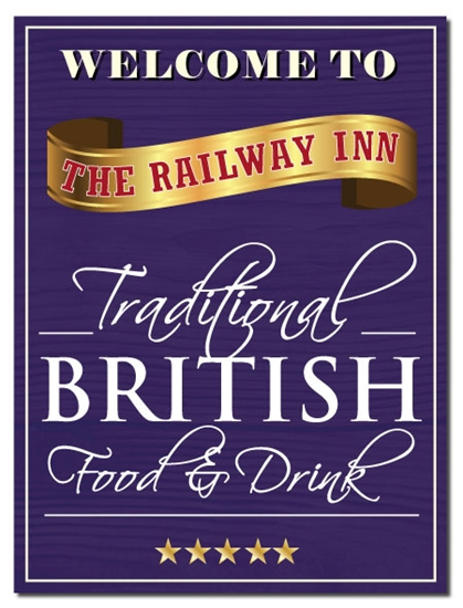 Picture of Personalised Metal Pub Sign Wood Effect Good Food Drink