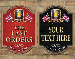 Picture of Wooden Style Home Bar Sign with British Union Jack Flag