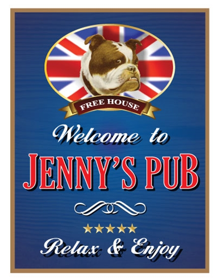 Picture of Personalised Pub Sign British Bull Dog Custom Wood Rectangle