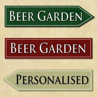 Picture of Pointing Direction Wooden Effect Beer Garden Sign