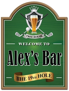 Picture of Golf Sign - THE 19TH HOLE Joke Home Bar Gift