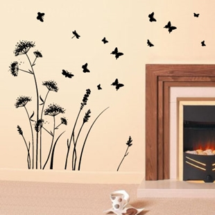 Picture of Wild Flower Cow Parsley and Butterfiles Meadow Wall Sticker