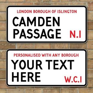 Picture of Vintage London Street Sign, Metal Road Sign, Plaque Personalised any text you like
