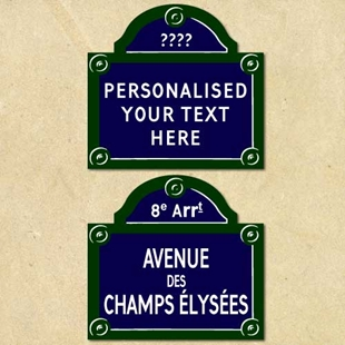 Picture of Traditional French Street Sign, Plaque Personalised any text you like