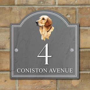 Picture of Golden Retreiver House Number sign