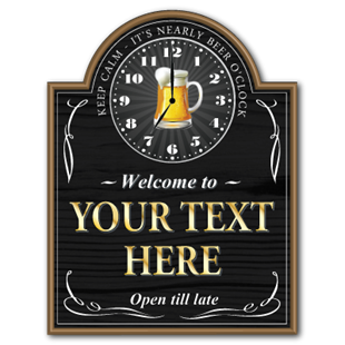 Jaf graphics pub bar clocks beer oclock home bar sign aloadofball Gallery