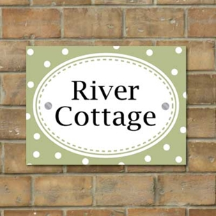 Picture of Vintage Dot Pattern House Sign