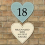 Picture of Heart Shaped Personalised Wooden Effect House Sign.