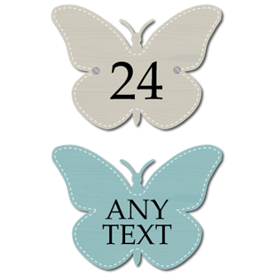 Picture of Butterfly Shaped PersonalisedHouse Number Sign, Outdoor Sign, Wooden Style