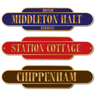 Picture of Brass Coloured Effect Classic Railway Station Totem Sign