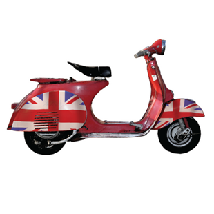 Picture of Union Jack Vespa Scooter Shaped Sign