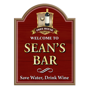Picture of Personalised Wine Bar Sign with Wine Glass and Bottle