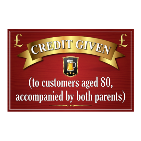 Picture of Pub Credit Given Sign
