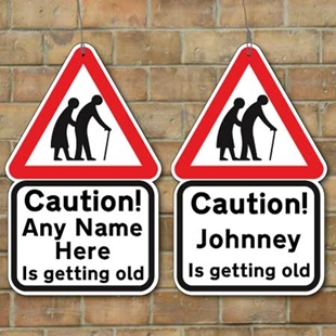 Picture of Old People Crossing Joke Road Sign