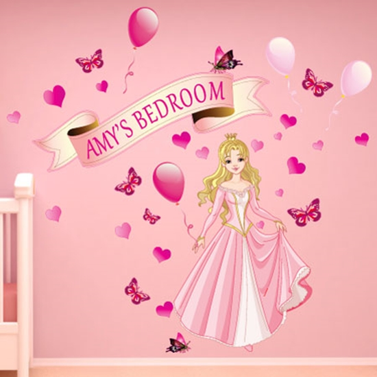 Picture of Personalised Girls Princess Wall Sticker Girls Large Bedroom Fairy Tale Sticker