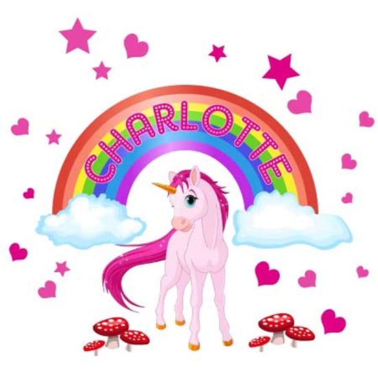 Picture of Personalised Girls Unicorn Horse Fairy tale rainbow wall sticker Girls bedroom