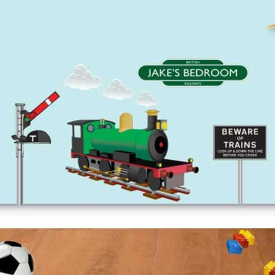 jaf graphics. personalised train wall sticker, boys bedroom name