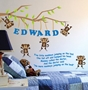 Picture of 5 Little Monkeys personalised wall sticker, nursery rhyme bedroom wall sticker