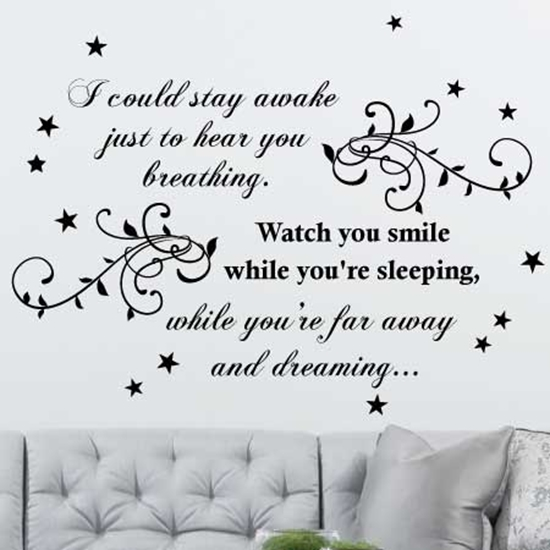 Picture of Large Aerosmith Breathing Quote, Wall Art Song Sticker, Bedroom Wall Sticker