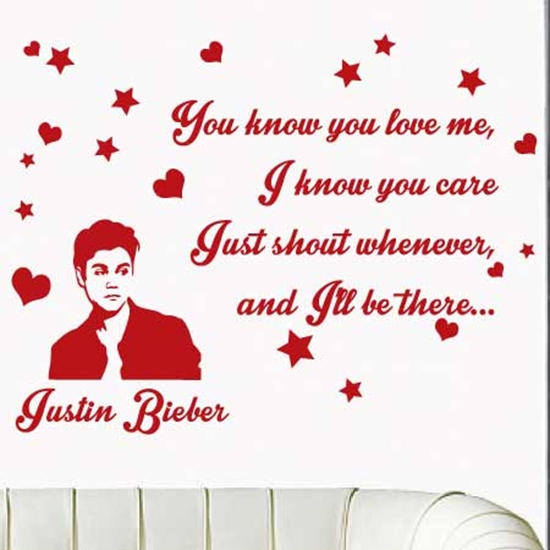 "Picture of LARGE JUSTIN BIEBER Wall song lyrics Sticker ""I Know you love me"" Wall Sticker"