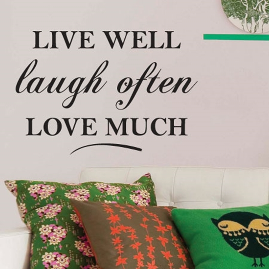 jaf graphics new natural stone effect wall sticker live well laugh often love much quote. Black Bedroom Furniture Sets. Home Design Ideas