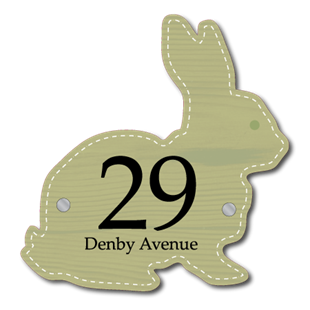 Picture of Unique Cute Rabbit Shaped House Number Sign