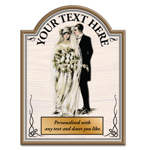 Picture of Bride & Groom Vintage Wooden Effect Metal Custom Pub Sign
