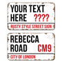 Picture of Rusty Style Personalised London Street Sign
