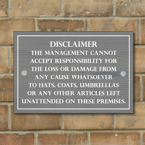 Picture of Pub / Bar Disclaimer sign