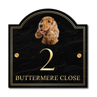 Picture of English Cocker Spaniel Dog House Number Sign