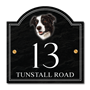 Picture of Border Collie House Number Sign