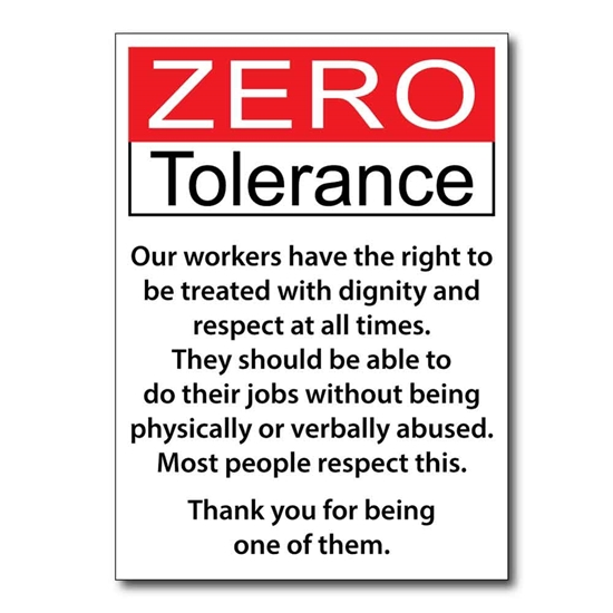 Picture of Zero Tolerance Workplace Signs - Pk 2