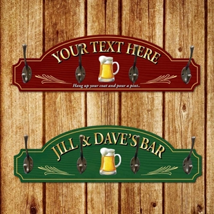 Picture of Personalised Bar Coat Hook Hanger