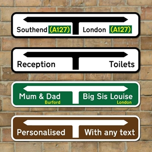 Picture of Personalised UK Road Direction sign