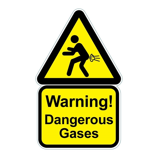 Picture of DANGEROUS GASES FUNNY WARNING SIGN, JOKE TOILET SIGN, RUDE WIND MAN CAVE SIGN,