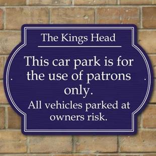 Picture of Patrons Only Car Park Sign - Landscape