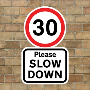 Picture of 30 Please SLOW DOWN sign
