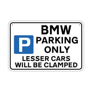Picture of BMW Joke Parking sign