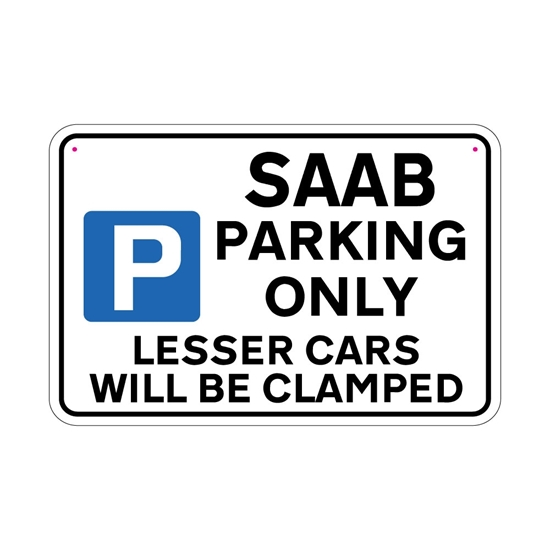 Picture of SAAB Joke Parking sign