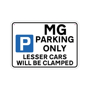 Picture of MG Joke Parking sign