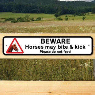 Picture of Horses May Bite & Kick Sign