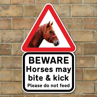 Picture of Horses May Bite & Kick Wall & Post Sign