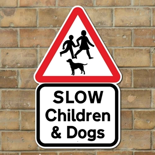 Picture of Slow Children and dogs sign