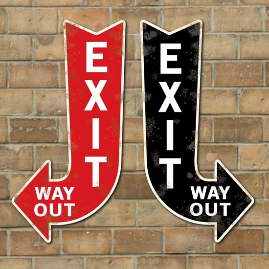 Picture of Vintage Style Exit Way Out Arrow