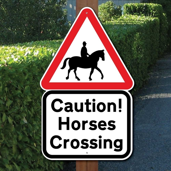 Picture of CAUTION HORSES SIGN CROSSING