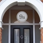 Picture of Round Frosted Window Number Etched glass Fanlight