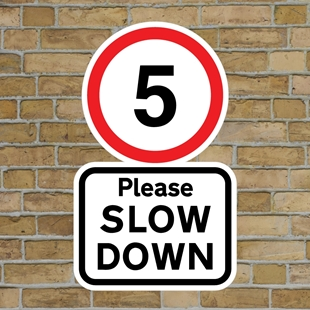 Picture of 5mph Please SLOW DOWN sign