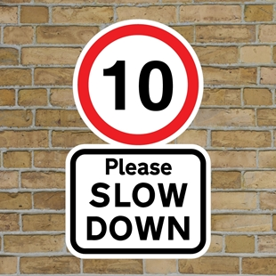 Picture of 10 Please SLOW DOWN sign